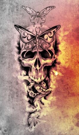 Sketch of tattoo art, skull, death concept illustration illustration