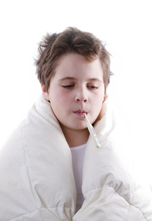 blond child sick with fever, with digital thermometer Stock Photo