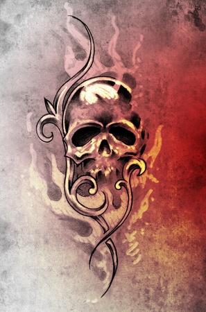 Sketch of tattoo art, skull devil, decorative vintage illustration illustration