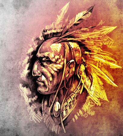 capo indiano: Sketch di arte del tatuaggio, American Indian Capo illustrazione