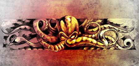Sketch of tatto art, octopus illustration illustration