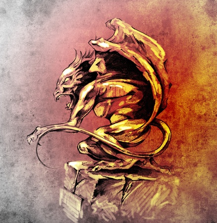 Sketch of tattoo art, gargoyle demon, design elements over vintage background photo