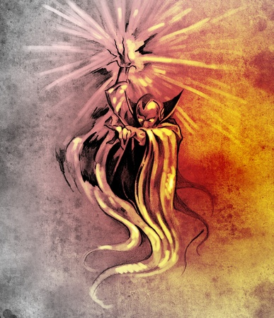 Sketch of tatto art, warlock, sorcerer, halloween concept photo