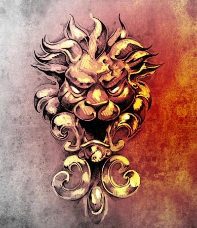 Sketch of tattoo art, gargoyle lion illustration illustration