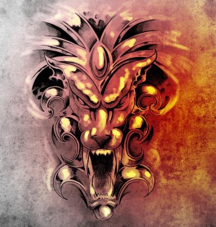 gargouille: Croquis du tatouage d'art, gargouille diable masque Banque d'images