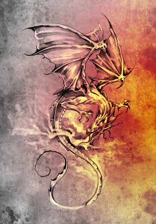 flying dragon: Sketch of tattoo art, classic dragon illustration Stock Photo