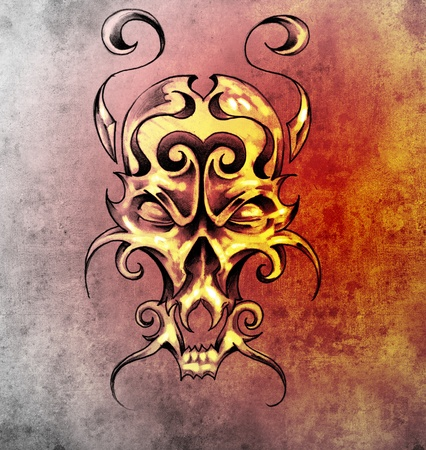 Sketch of tattoo art, monster mask with decorative elements photo
