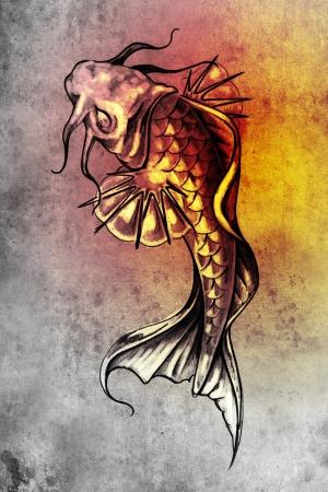 Sketch of tattoo art, japanese goldfish photo