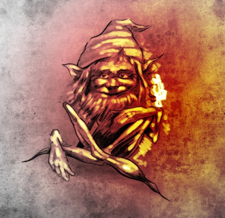 gnome: Sketch of tattoo art, funny sitting gnome