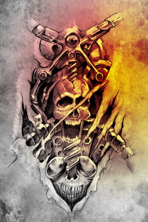 Tattoo art, sketch of a machine gears and skull