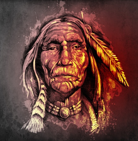 indian chief: Sketch of tattoo art, portrait of american indian head
