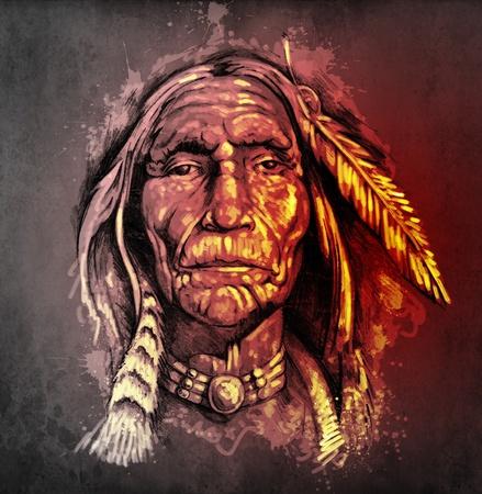 head-dress: Szkic sztuki tatuażu, portret Indian amerykańskich głowy