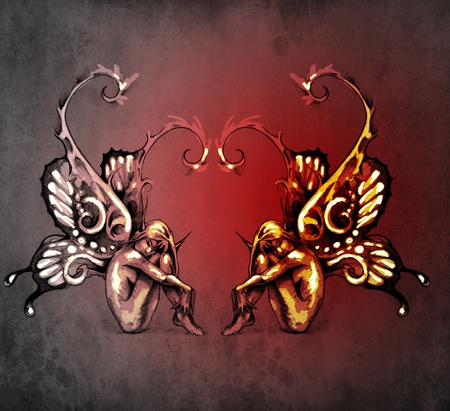 Duality concept tattoo, two  fairy on blue vintage background Stock Photo