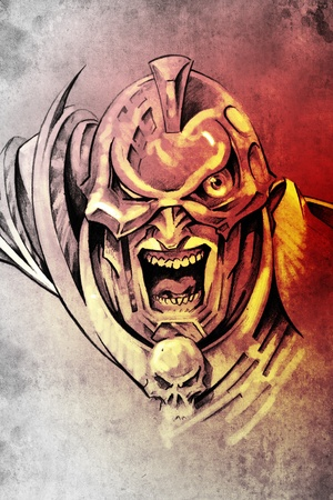 Tattoo art, sketch of a fantasy warrior, future knight Stock Photo - 13539584