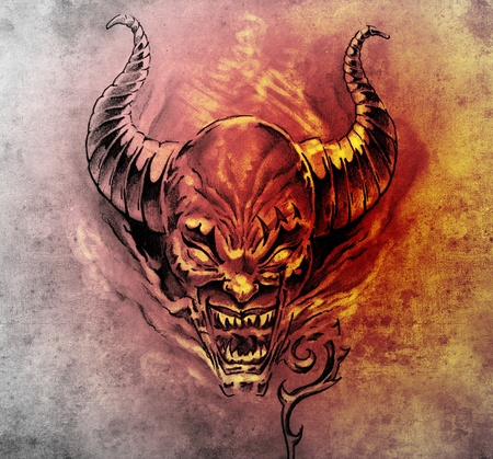 Tattoo art, sketch of a devil with big horns photo