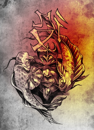 Tattoo art, sketch of a japanese warrior in vintage style Imagens