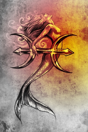 Tattoo art, sketch of a mermaid, pisces vintage style Stock Photo - 13540474