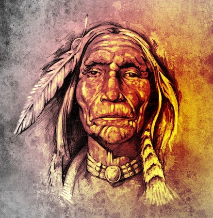chief headdress: Sketch of tattoo art, portrait of american indian head over colorful paper Stock Photo