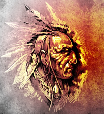 Sketch of tattoo art, American Indian Chief illustration over colorful paper illustration