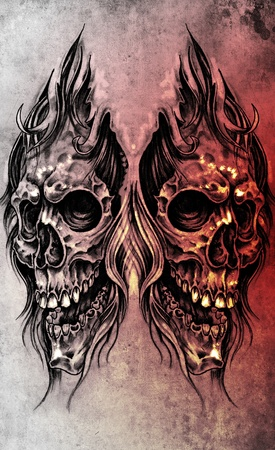 Sketch of tattoo art, skull head illustration, over colorful paper illustration