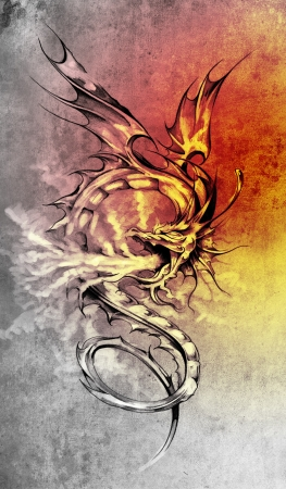 Sketch of tattoo art, stylish dragon illustration over colorful paper illustration
