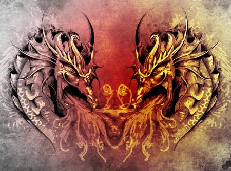 Tattoo art, fantasy medieval dragons heart photo