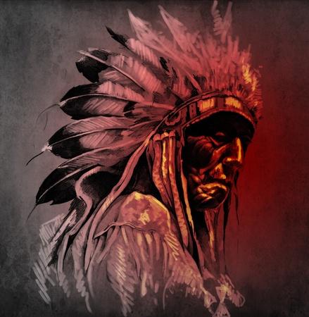 indio americano: Arte del tatuaje, el retrato de la cabeza de indio americano sobre fondo oscuro