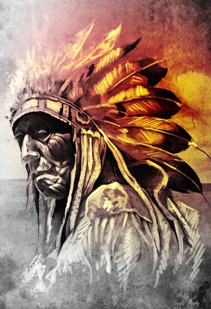 Sketch of tattoo art, indian head over artistic background photo
