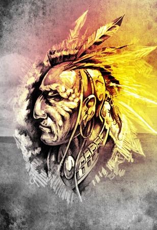 Sketch of tattoo art, indian head over cropfield background photo