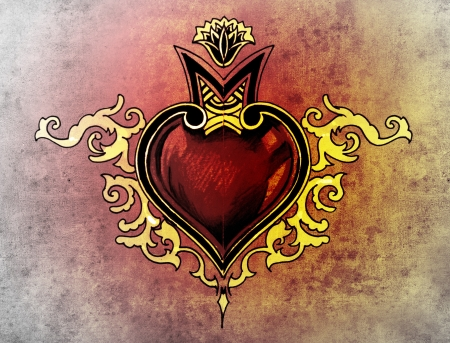 Valentine Day. Sketch of tattoo art, tribal design, heart photo