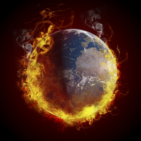 warming: global warming concept. Planet Earth burning, fire Stock Photo