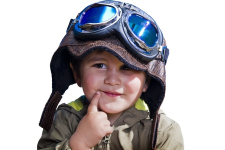 A baby pilot with huge hat and glasses, isolated. photo