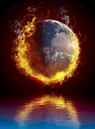A global warming concept. Planet Earth burning over water reflection