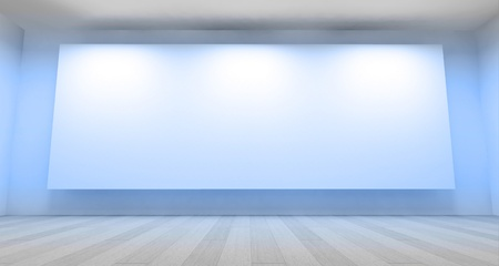 Empty gallery, 3d room photo