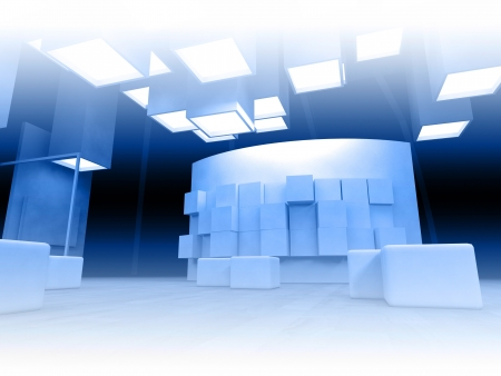 Art gallery with blank frames, modern building, conceptual architecture Stock Photo - 13951600