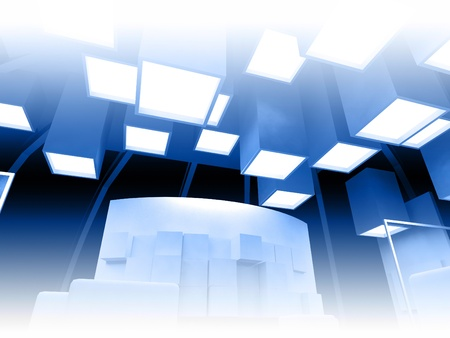 Art gallery with blank frames, modern building, conceptual architecture Stock Photo - 13951568