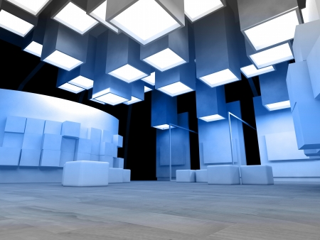 hall: Art gallery with blank frames, modern building, conceptual architecture Stock Photo