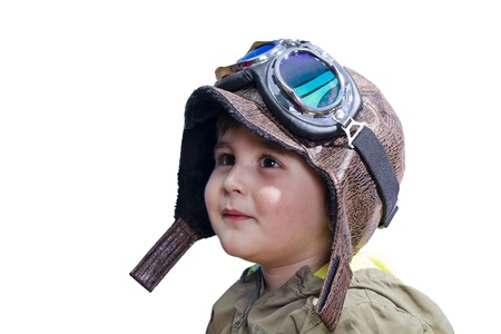 flight helmet: Baby boy dreaming of becoming a pilot with an old style uniform and glasses Stock Photo