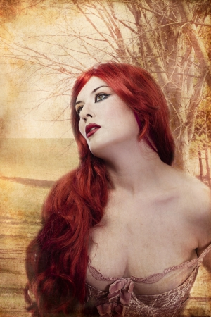beautiful woman, dressed in Renaissance style underwear photo