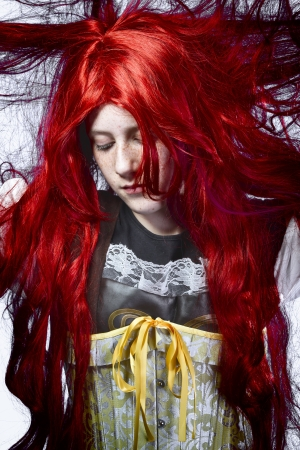 poetic: redhaired girl in a poetic representation