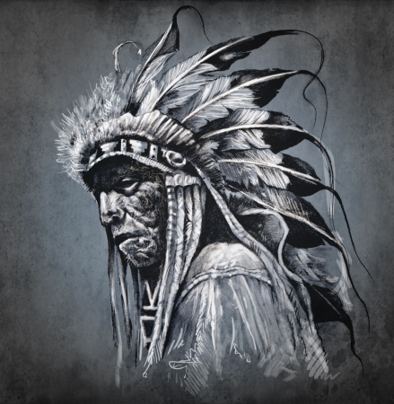 Tattoo art, portrait of american indian head over dark background Stock Photo