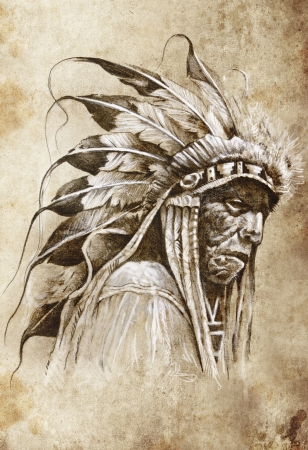 Sketch of tattoo art, native american indian head, chief, vintage style photo