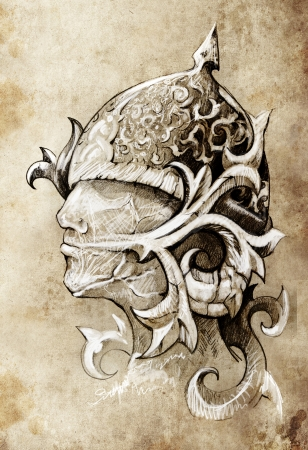 asian warrior: Sketch of tattoo art, warrior, hand made Stock Photo