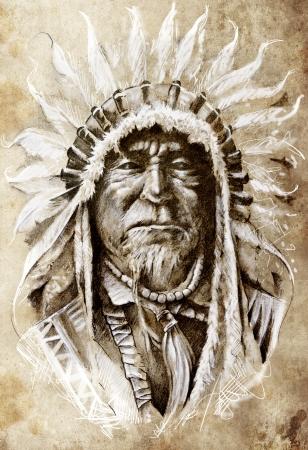 indio americano: Esbozo de arte del tatuaje, jefe indio nativo americano, el estilo principal, vintage