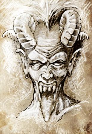 gargouille: Croquis de tatouage art, la t�te du diable, gothique, style vintage Banque d'images