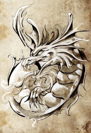 dragon tattoo: Croquis de l'art du tatouage, dragon médiéval, style vintage