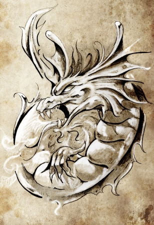 dragon tattoo: Sketch of tattoo art, medieval dragon, vintage style