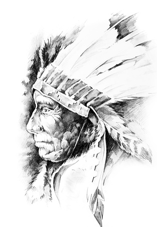indian brave: Sketch of tattoo art, native american indian head, chief, isolated Stock Photo