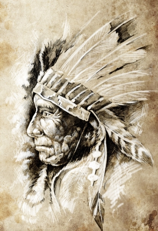 apache: Sketch of tattoo art, native american indian head, chief, vintage style