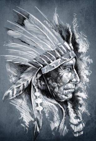 guerriero indiano: Schizzo di arte del tatuaggio, capo nativo americano indiano, capo, sfondo sporco Archivio Fotografico